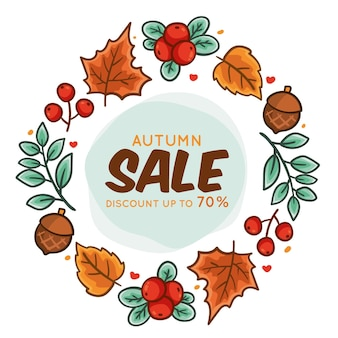 Hand banner drawn autumn sale