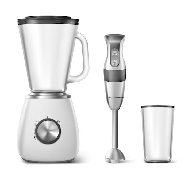 Ручной блендер, кухонный комбайн и прозрачное пластиковое стекло