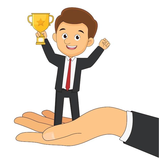 Рука босс дает вознаграждение для сотрудников