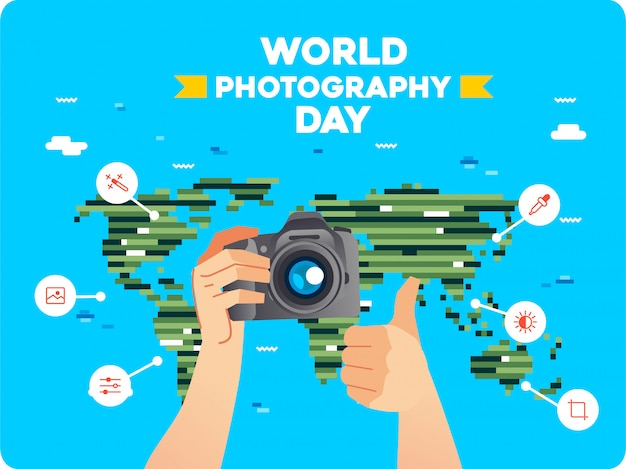 Hand bringing digital camera and other hand thumbs up with line art icon around and world map as background. world photography day illustration