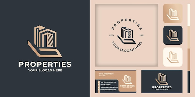 Hand and building logo design, and business card