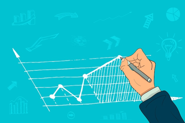 The hand of a businessman draws a growth chart