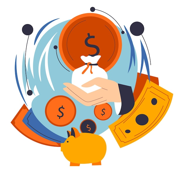 Hand of businessman holding money in bag in hands, profit and benefit from business or work. saving and investing financial assets, deposits of earning. piggy bank and coins. vector in flat style