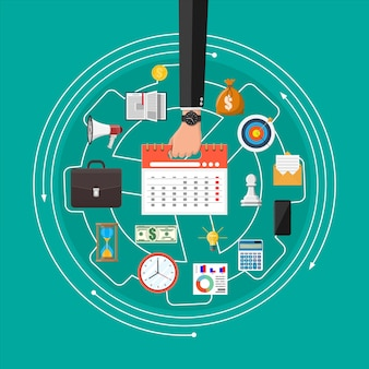 Hand of businessman with clocks. calendar, phone, report, money, phone, briefcase, hourglass. control strategy and tasks, business projects planning time management. illustration flat style