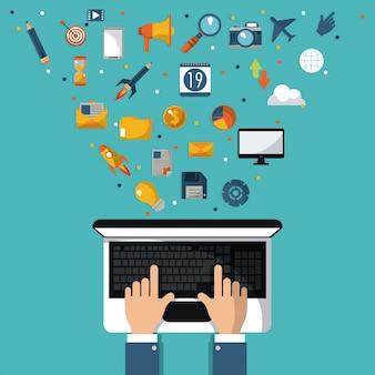 Hand businessman workin laptop digital marketing media