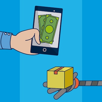 Hand buying online with smartphone vector illustration graphic design