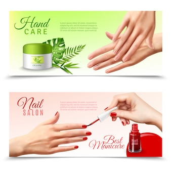 Hand care cosmetics realistic banners