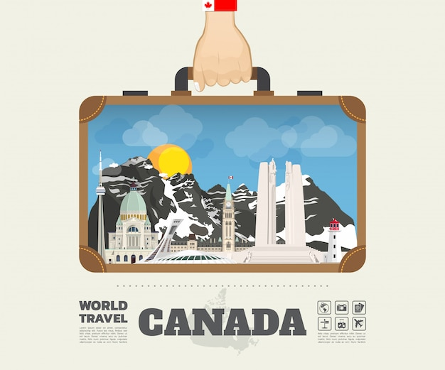 Hand carrying canada landmark global travel and journey infographic bag.