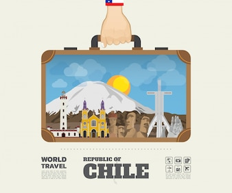 Hand carrying chile Landmark Global Travel And Journey Infographic Bag.