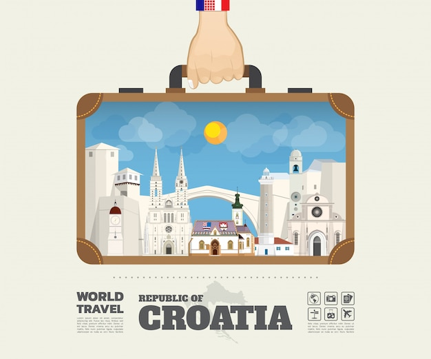 Hand carrying croatia landmark global travel and journey infographic bag.