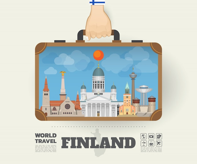 Hand carrying finland landmark global travel and journey infographic bag