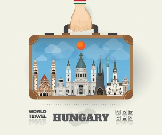 ハンガリーのランドマークの世界旅行と旅インフォグラフィックバッグを運ぶ手。