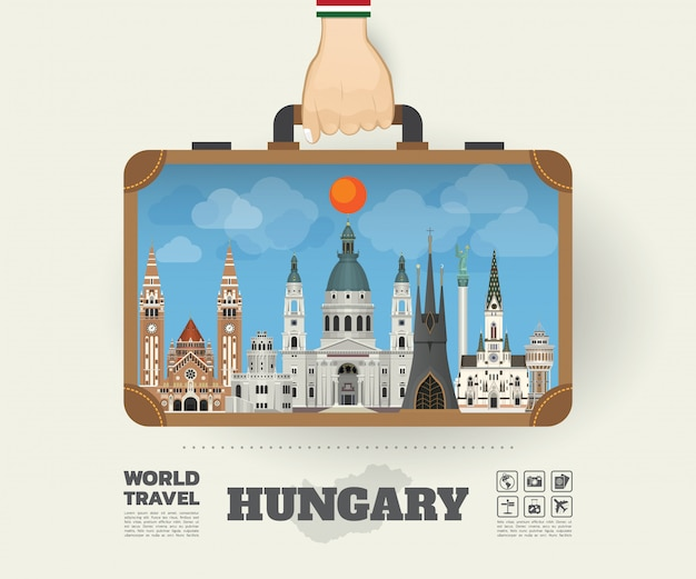 Hand carrying hungary landmark global travel and journey infographic bag.