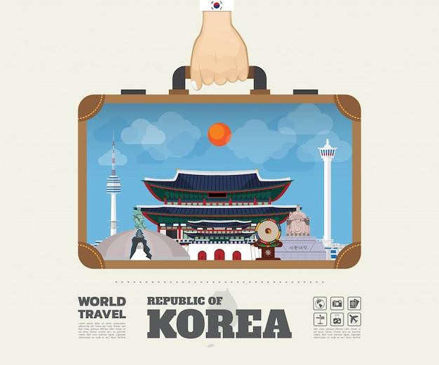 한국 랜드 마크 글로벌 여행 및 여행 인포 그래픽 가방을 들고 손.