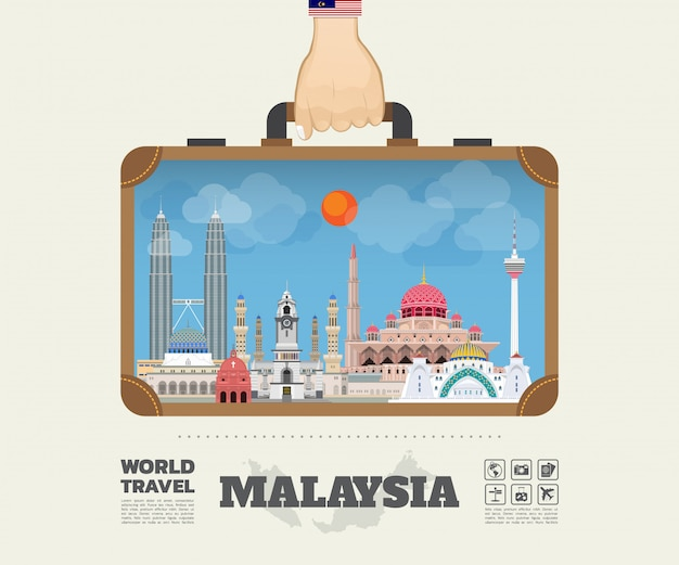 Hand carrying malaysia landmark global travel and journey infographic bag.