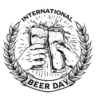 ビールのベクトル図のガラスと手歓声