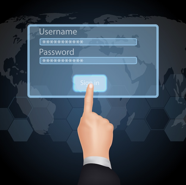 Hand choose enter password and username on virtual screen