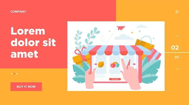オンラインで食料品を選ぶ手。果物、野菜、市場フラットベクトルイラスト。 eコマースおよびデジタル技術の概念のウェブサイトのデザインまたはランディングwebページ