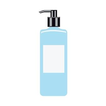 손 청소기. 손으로 그린 손 소독제 흰색 절연입니다. 평면 그림. 클리너, 살균제. 손 세척 용 젤