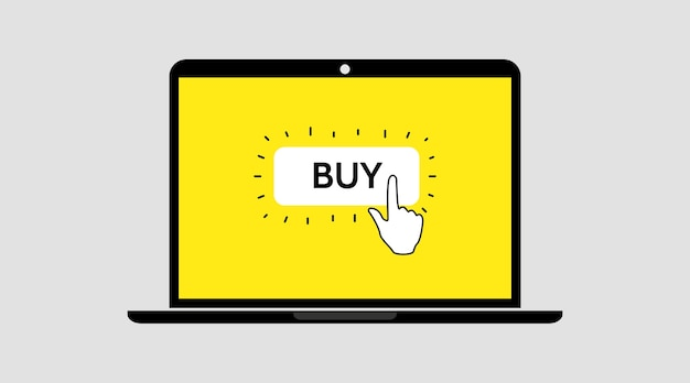 Hand click buy button. online shopping. order online. laptop notebook screen template.