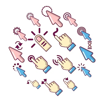 Hand click icons set, cartoon style
