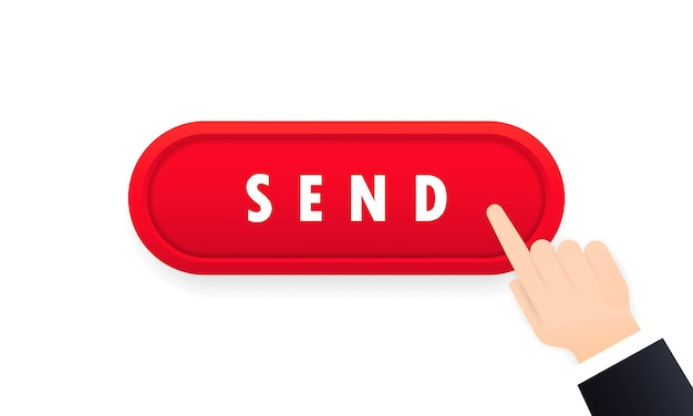 Hand clicking send button icon