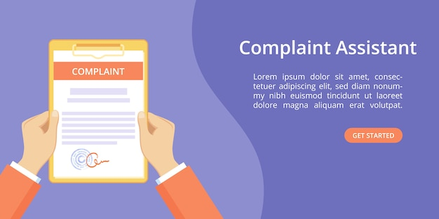 Hand on clipboard for complaint assistant