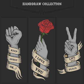 Hand collection illustration