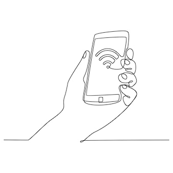 Hand continuous line drawing with cell phone vector illustration