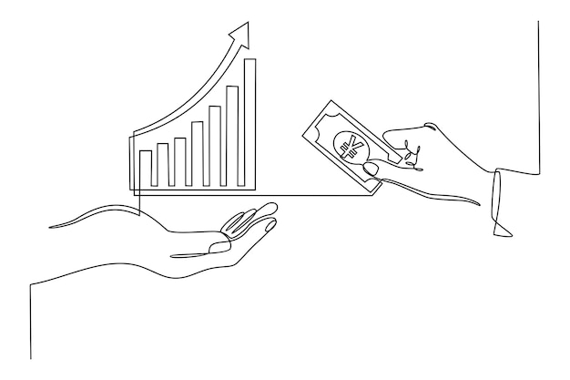Hand continuous line drawing with currency trading transaction chart icon financial business concept