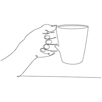 白いカップのベクトル図と手の連続線画