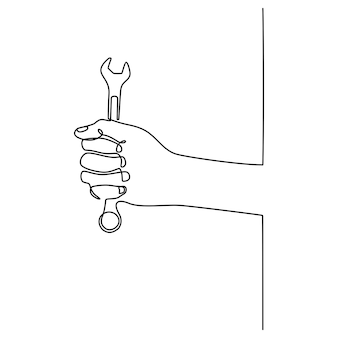 Hand continuous line drawing with wrench vector illustration