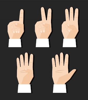 Hand counting finger signs set