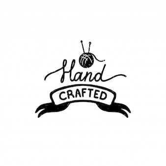手作りのアイコンまたはロゴ。リボンに手作りの碑文とビンテージスタンプアイコン