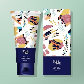 Hand cream or cleanser tube & carton box packaging with trendy abstract pattern design