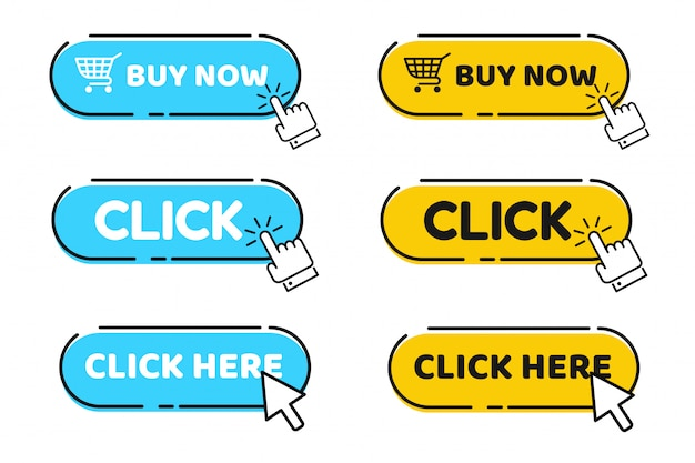 Hand cursor and arrow pointing to click button click here for a link
