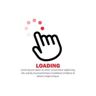 Hand cursor icon. loading sign. computer using concept. vector on isolated white background. eps 10.