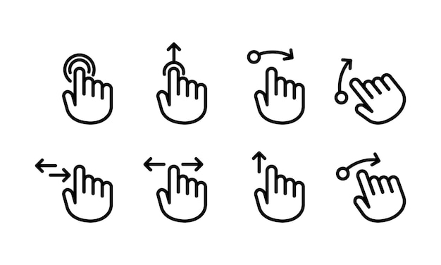 Hand cursor touch screen gestures icon or swipe to left right up. hand finger left, right, up