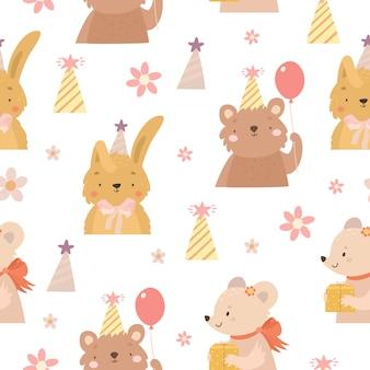 Hand dawn animals birthday pattern
