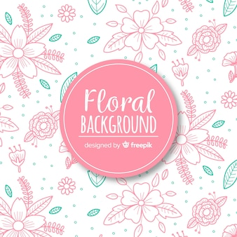 Hand dawn floral background