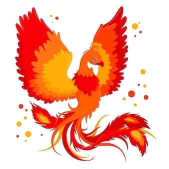 Hand dawn phoenix concept