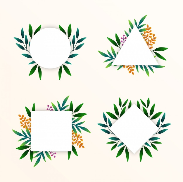 Hand dawn tropical leaves frames collection