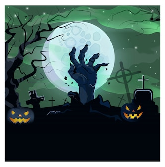 Hand of dead man from ground of graveyard illustration