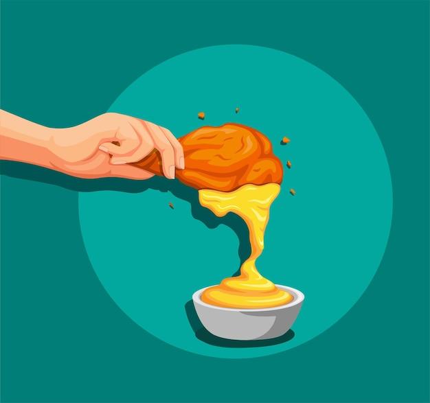 크리스피 프라이드 치킨을 머스타드 또는 치즈 소스에 손으로 담그십시오.