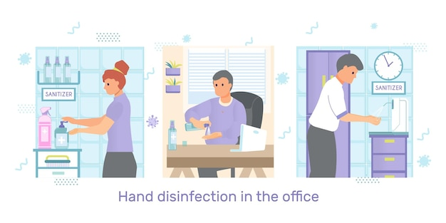 Hand disinfection in the office illustration set