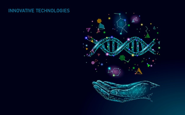 Hand dna gene therapy concept. medical consultation app. web healthcare diagnosis geometric modern hospital network banner. drugstore market background low poly