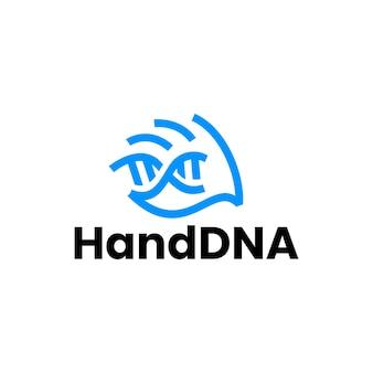 Hand dna strain helix logo vector icon illustration