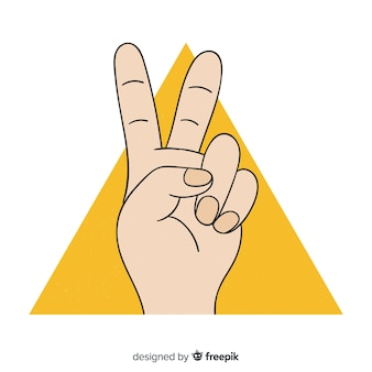 손으로 그린 스타일으로 평화 서명 하 고