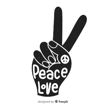 Hand doing  the peace sign with hand drawn style