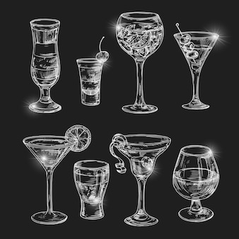 Hand dranw alcoholic cocktail with lights  illustration